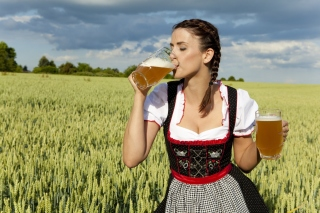 Girl likes Bavarian Weissbier Background for Android, iPhone and iPad