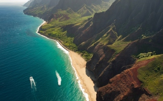 Cliffs Ocean Kauai Beach Hawai sfondi gratuiti per cellulari Android, iPhone, iPad e desktop