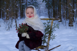 Little Girl In Winter Outfit Picture for Android, iPhone and iPad