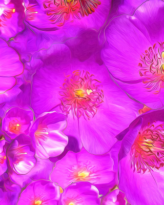 Drawn Purple Flowers Wallpaper for Nokia C5-06
