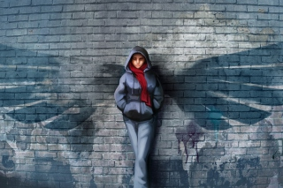 Red Scarf And Brick Wall - Fondos de pantalla gratis
