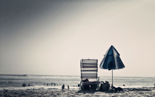 Beach Chair And Umbrella Wallpaper for Android, iPhone and iPad