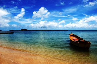 Boat On Sea Shore Wallpaper for Android, iPhone and iPad