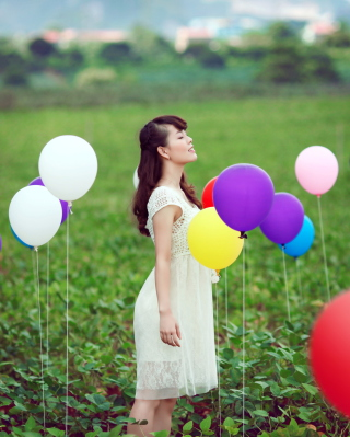 Girl And Colorful Balloons Picture for 240x400
