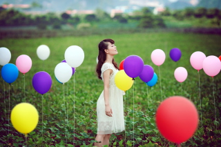 Girl And Colorful Balloons - Obrázkek zdarma
