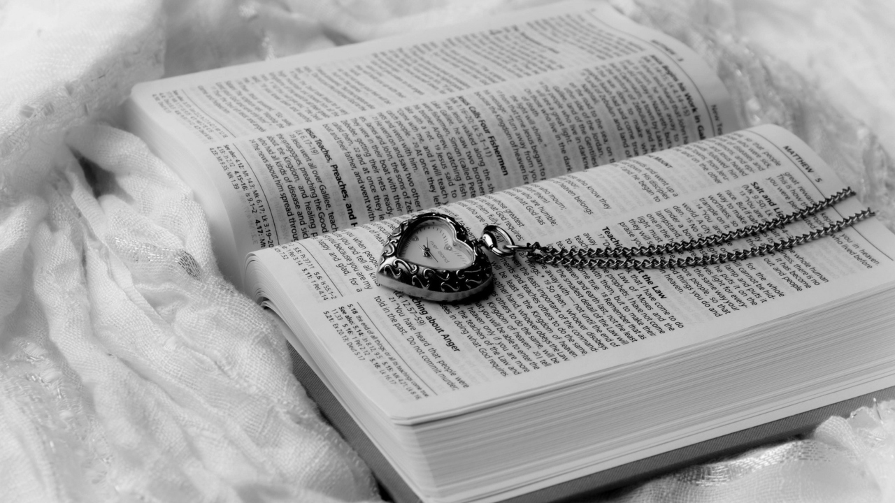 Bible And Vintage Heart-Shaped Watch