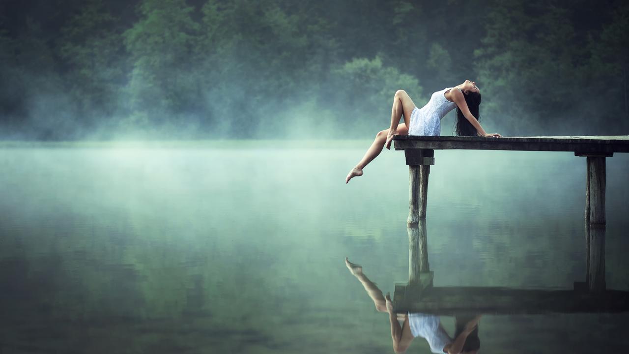 Beautiful Model At Morning Lake