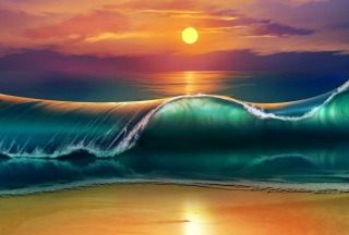 Sunset Over Ocean Waves Painting Picture for Android, iPhone and iPad