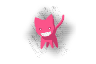 Pink Cat Sketch Wallpaper for 1280x960