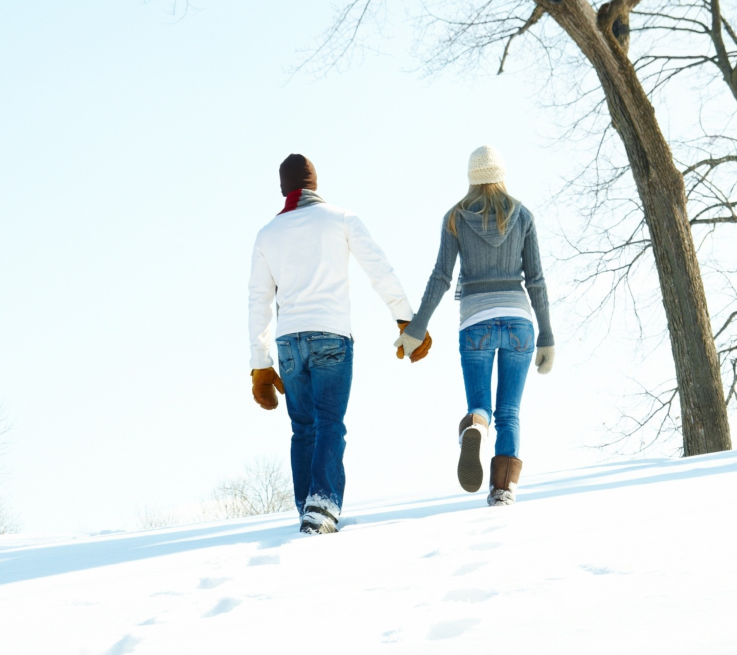 Screenshot №1 pro téma Romantic Walk Through The Snow 1440x1280