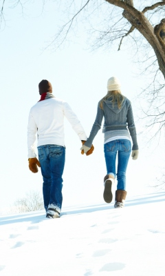 Screenshot №1 pro téma Romantic Walk Through The Snow 240x400