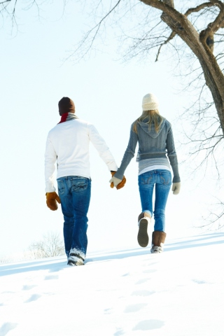 Screenshot №1 pro téma Romantic Walk Through The Snow 320x480