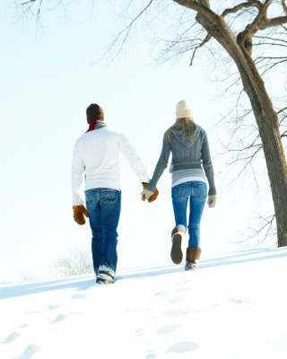Romantic Walk Through The Snow Wallpaper for 128x160