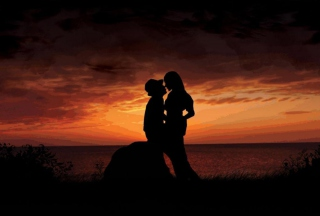 Sunset Kiss Picture for Android, iPhone and iPad