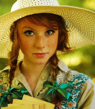Romantic Girl In Straw Hat Picture for 480x800