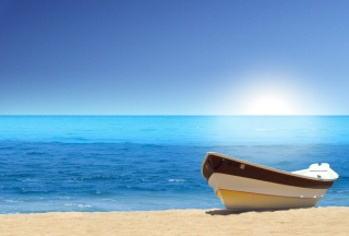 Boat At Pieceful Beach sfondi gratuiti per cellulari Android, iPhone, iPad e desktop