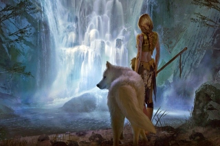 Warrior Wolf Girl from Final Fantasy Background for Android, iPhone and iPad