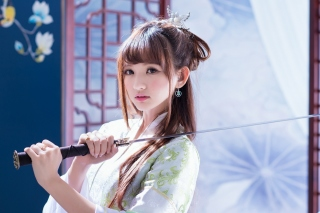 Samurai Girl with Katana Background for Android, iPhone and iPad