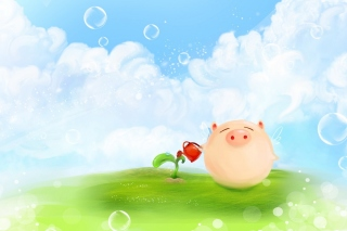 Pig Artwork Background for Desktop Netbook 1366x768 HD