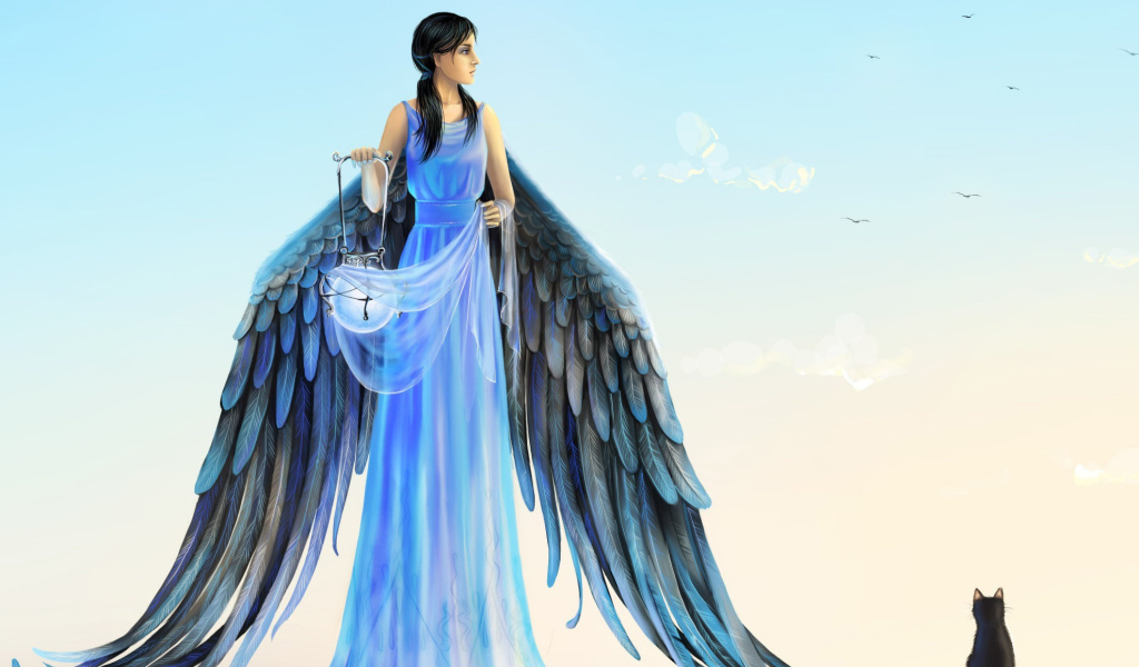 Angel with Wings wallpaper 1024x600