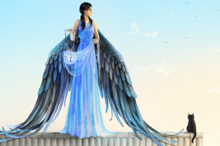 Angel with Wings sfondi gratuiti per 480x320