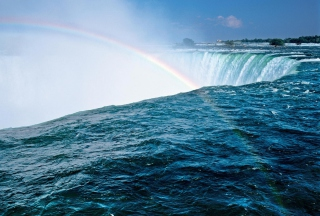 Waterfall And Rainbow Background for Android, iPhone and iPad
