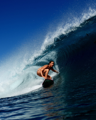 Big Wave Surfing Girl Wallpaper for HTC Titan