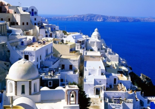 Fira Santorini Greece Background for Android, iPhone and iPad