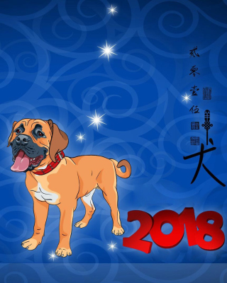 Kostenloses Happy New Year 2018 Dog Sign Horoscope Wallpaper für Nokia Lumia 925