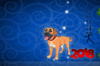 Kostenloses Happy New Year 2018 Dog Sign Horoscope Wallpaper für Android 320x480