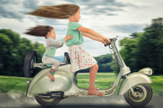 Funny kids on bike Background for 480x320