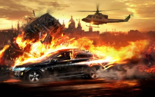 Car And Fire Background for 960x800