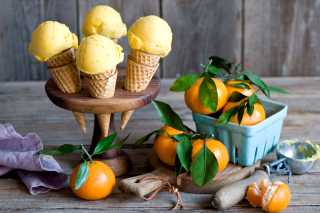 Tangerine Ice Cream Background for Android, iPhone and iPad