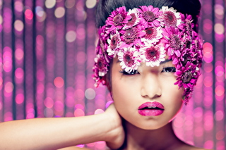 Asian Fashion Model With Pink Flower Wreath Wallpaper for Android, iPhone and iPad