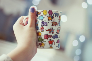 Funny Mug With Elephants Wallpaper for Android, iPhone and iPad