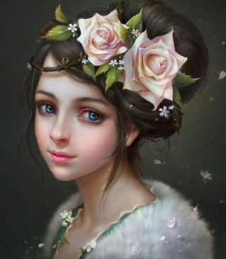 Girl With Roses In Her Hair Painting sfondi gratuiti per iPhone 6 Plus