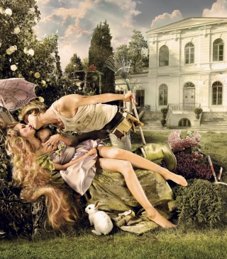 Scene With Kiss In Garden Background for 480x800