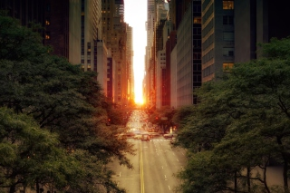 Sun Rising Over Street sfondi gratuiti per cellulari Android, iPhone, iPad e desktop