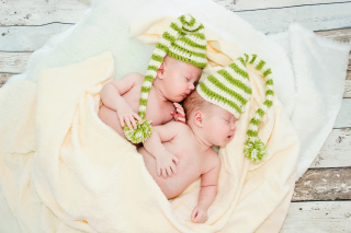 Cute Babies In Green Hats Sleeping Picture for Android, iPhone and iPad