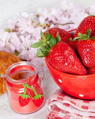Strawberry, jam and croissant Background for 750x1334