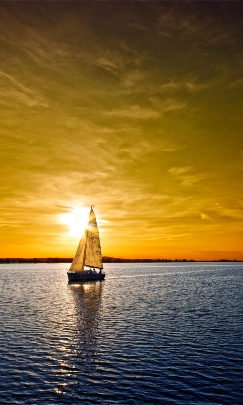 Boat At Sunset wallpaper 480x800