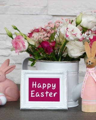 Happy Easter with Hare Figures Wallpaper for iPhone 6 Plus