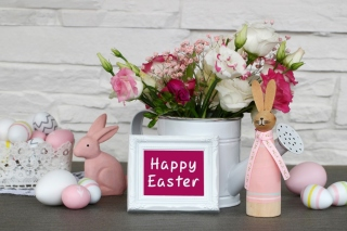 Happy Easter with Hare Figures Wallpaper for 960x800