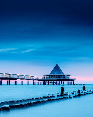 Blue Sea Pier Bridge Background for iPhone 6 Plus