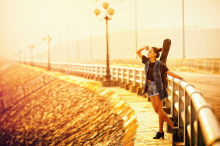Kostenloses Girl With Guitar Wallpaper für Sony Xperia Z3 Compact