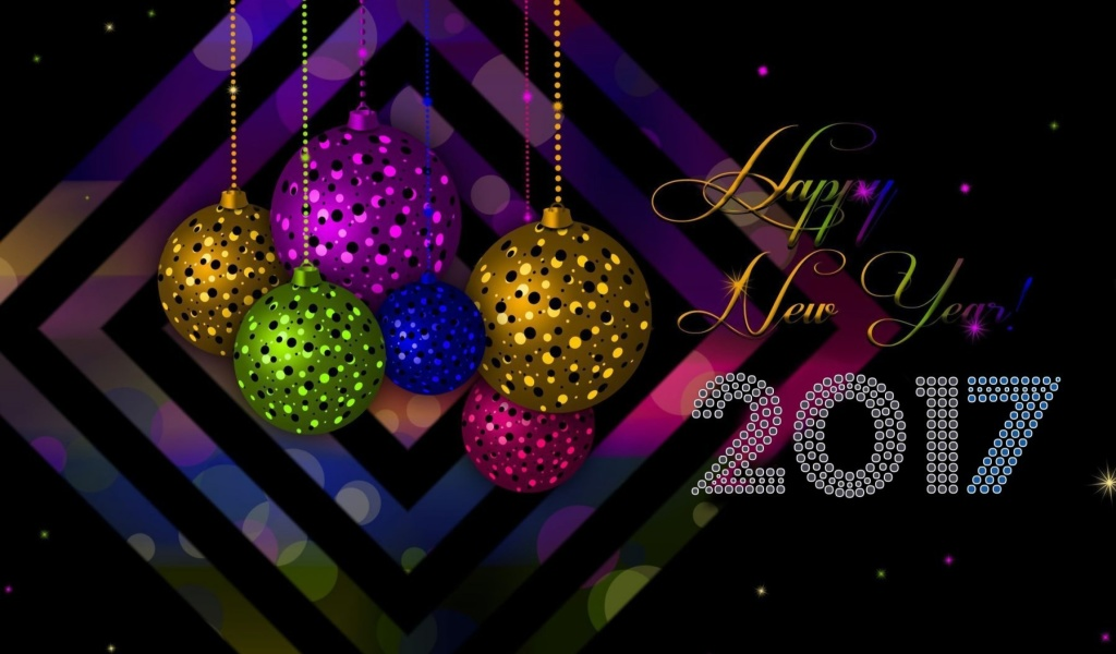 Das 2017 Happy New Year Card Wallpaper 1024x600