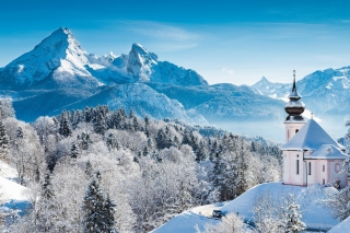 Bavaria under Snow Background for Android, iPhone and iPad
