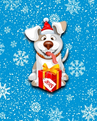 Winter New Year 2018 of the Dog Wallpaper for HTC Titan