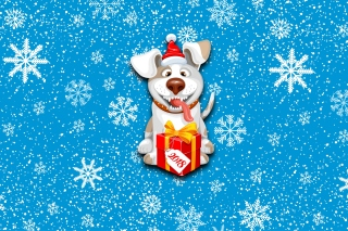Winter New Year 2018 of the Dog Wallpaper for Android, iPhone and iPad