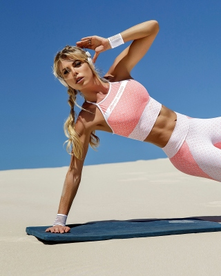 Fitness Yoga in Sand Background for Nokia 5800 XpressMusic